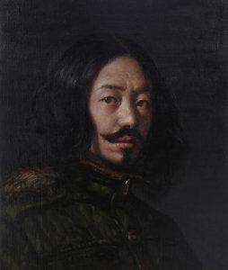 友清先生1_「髭のある自画像」8号-254x300